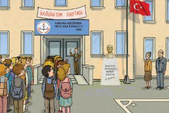 Okulda ilk gün – Zeynep Öğretmen ilk dersini İstiklal Marşı'na ayırmıştı.